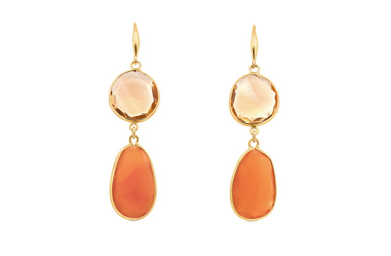 Carnelian and Citrine Yellow Gold Earrings
