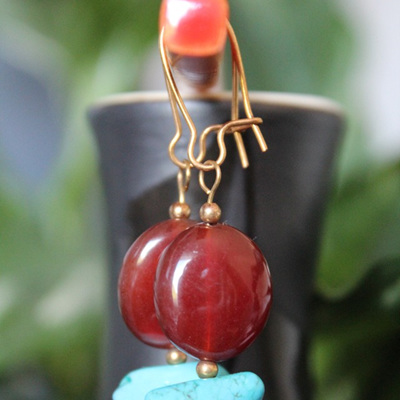 Carnelian & chalk turquoise earrings