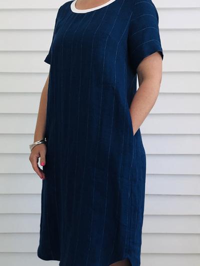 Caroline Dress            DENIM PINSTRIPE