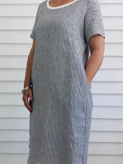 Caroline Dress NARROW STRIPE