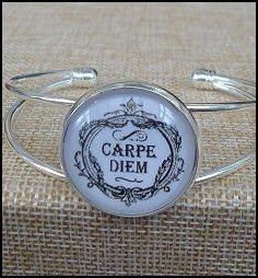 Carpe Diem Glass Dome Bangle