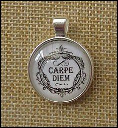 Carpe Diem Glass Dome Key Ring