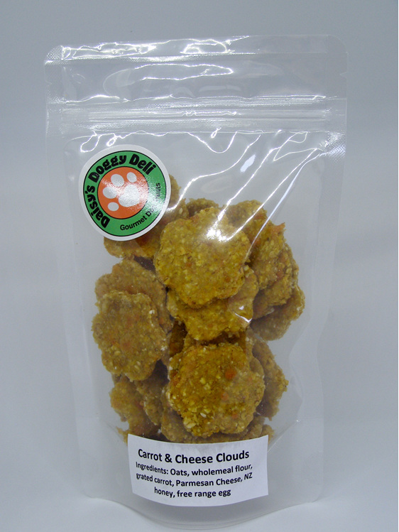 Carrot and Cheese Cloud baked dog treat cookies