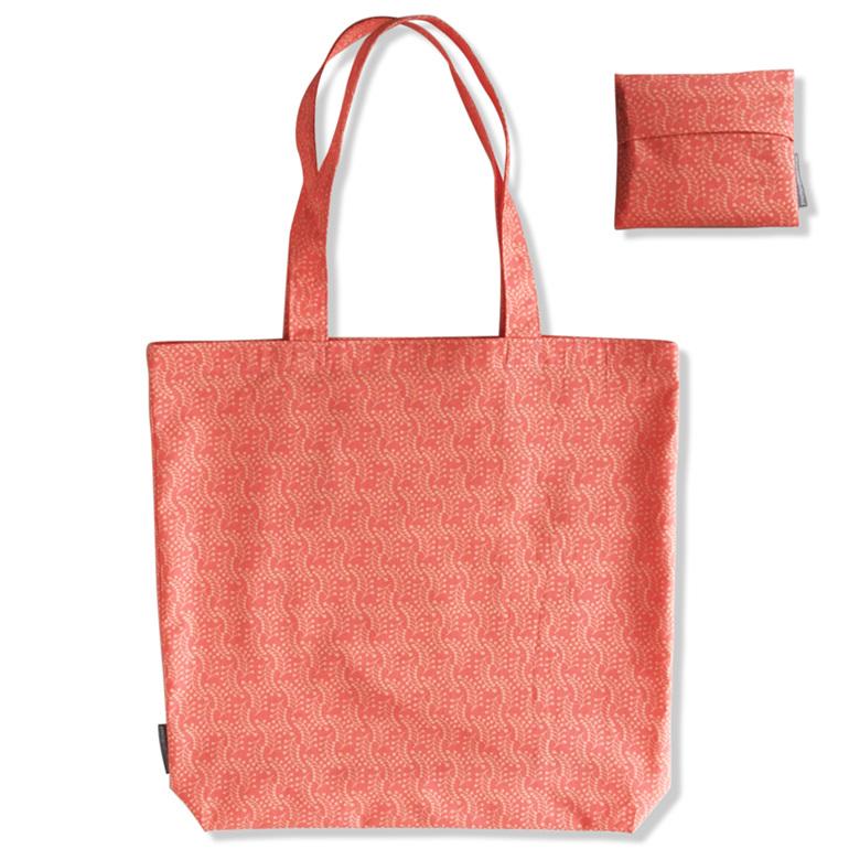carry pouch peach colour reusable cotton shopping bag and pocket