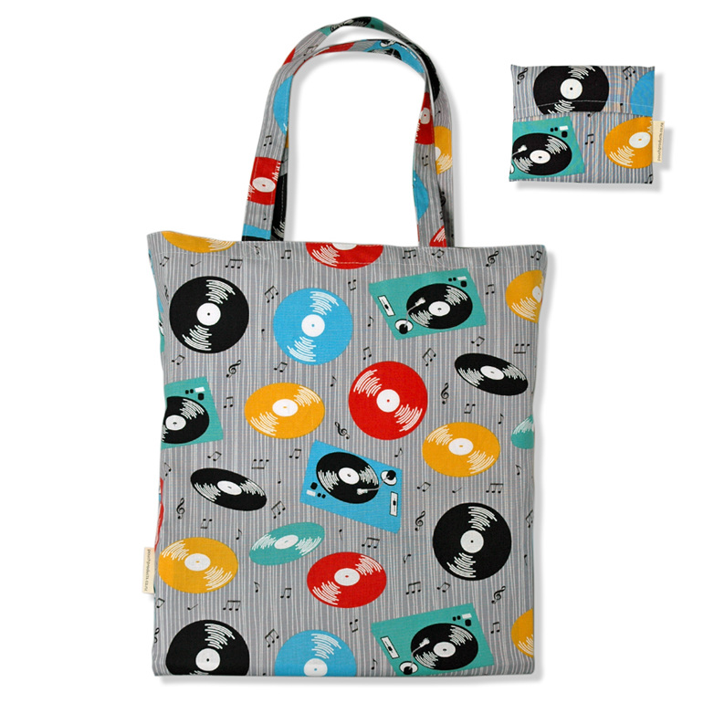 carry pouch retro records cotton fabric