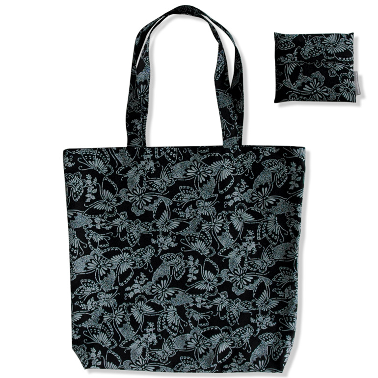 carry pouch white butterflies on black reusable cotton shopping bag with pocket