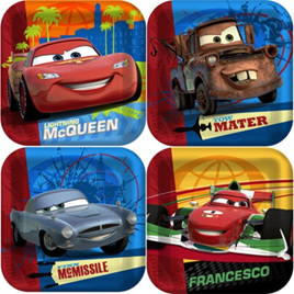 Cars 2  lunch plates pack of 8 3D effect