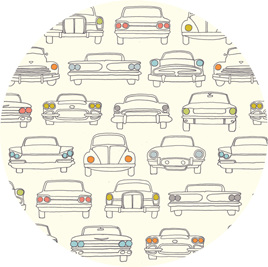 """Cars"", Cream, GOTS Organic Cotton 116 gsm"