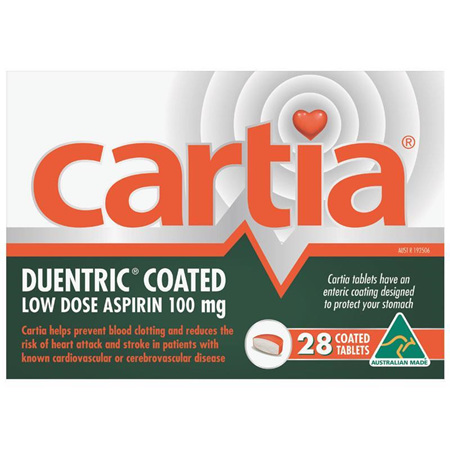 Cartia 100mg 28 Coated Tablets