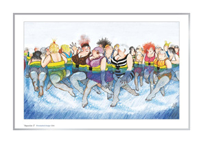 Cartoon artprint: women enjoying aquajogging & talking