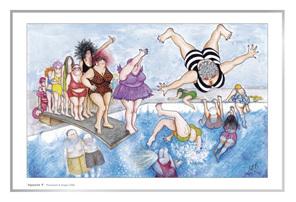 Cartoon artprint: women having fun springboard diving