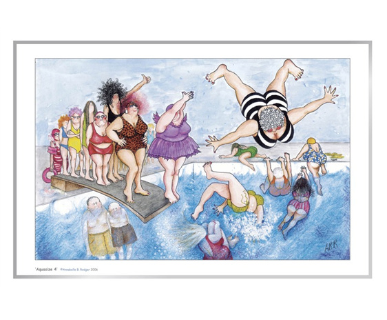 Cartoon artprint: women having fun springboard diving