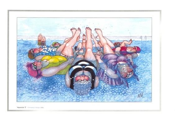 Cartoon artprint: women practising synchronized swimming