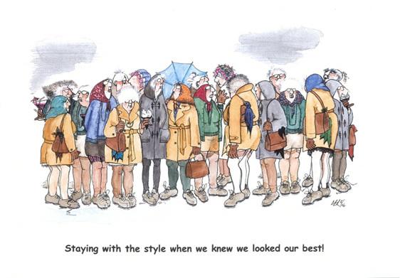 cartoon: baby boomer women's reunion in 1960s fashions for classy young women