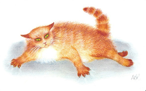 cartoon: big fluffy ginger tom-cat half resting & half ready to react if annoyed