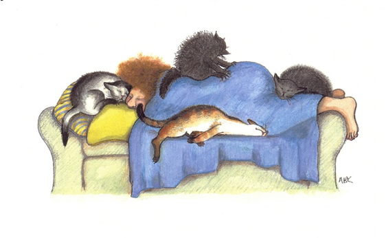 cartoon: cats on and cuddled up to owner who is napping on sofa