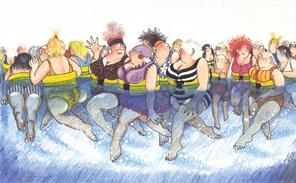 cartoon: group of adults in flotation belts enjoying aquajogging in diving pool