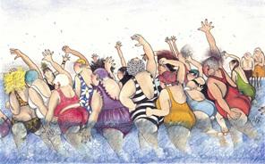 cartoon: group of women enjoying aquarobics (aquafitness) class in swimming pool