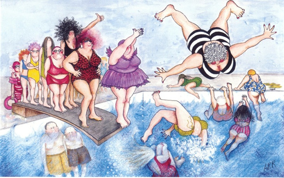 cartoon: group of women having fun using springboard diving pool