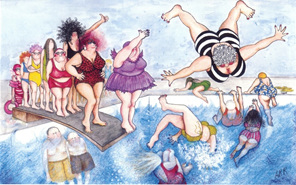 cartoon: group of women having fun using springboard diving pool