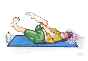 cartoon: woman on gym mat trying to regain flexibility