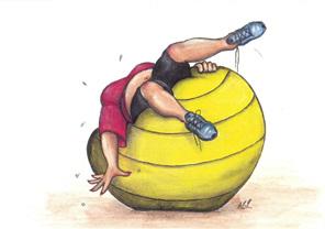 cartoon: woman struggling to balance lying backwards on large exercise ball