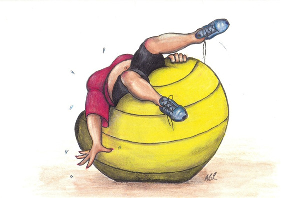 cartoon: woman struggling to balance lying backwards on large exercise ball