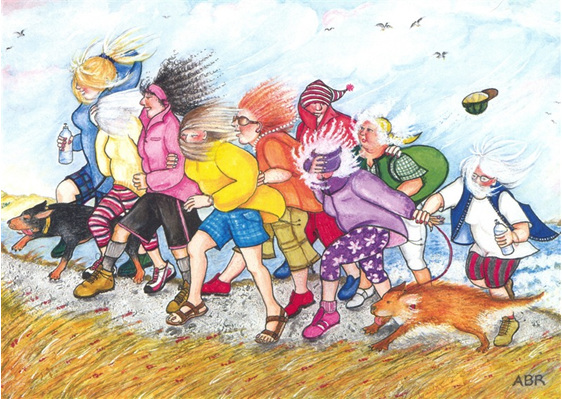 cartoon: women & dogs enjoy walking for fun & exercise uphill into strong wind