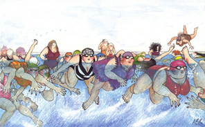 "cartoon: women in crowded ""slow lane"" at swimming pool"