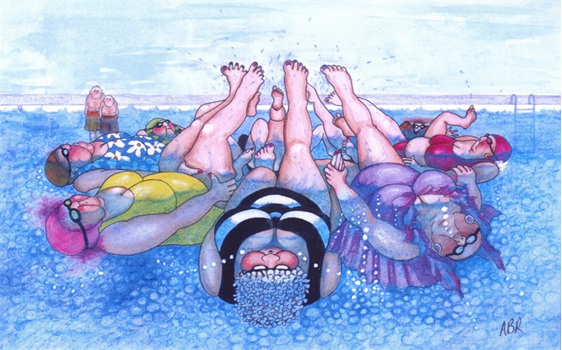 cartoon: women practise synchronized swimming & men watch old friends having fun