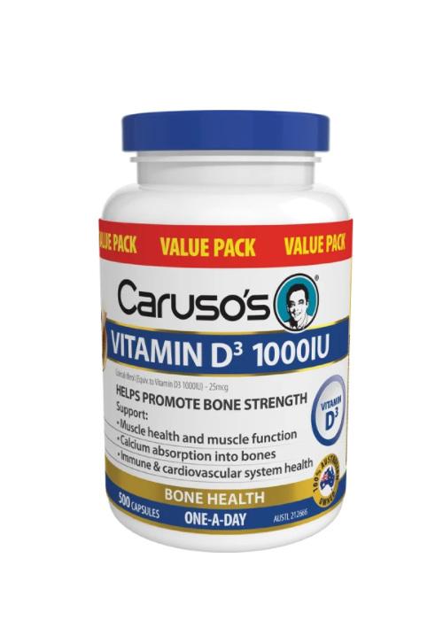 Caruso's Vitamin D3 1000IU 500 Capsules