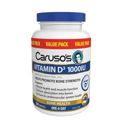 CARUSO's VITAMIN D3 1000IU 500 CAPSULES VALUE PACK