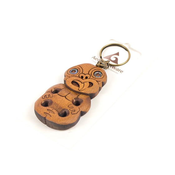 carved tiki key ring