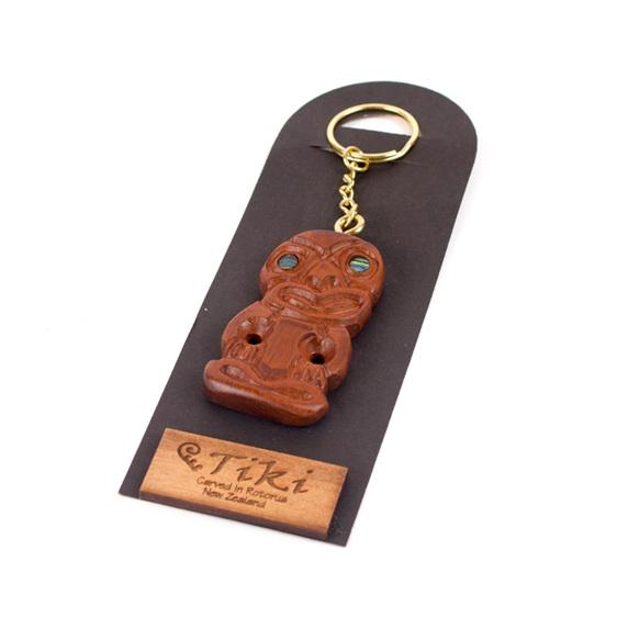 carved tiki key ring