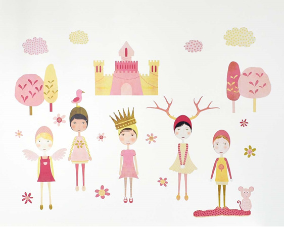 Castle girls wall mural