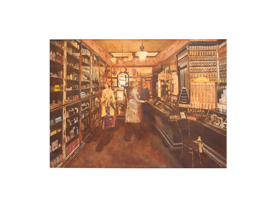 A painting of the pharmacy
