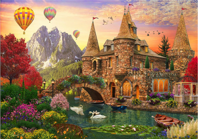 Castle With Hot Air Baloons Holdson 1000 piece puzzle at www.puzzlesnz.co.nz