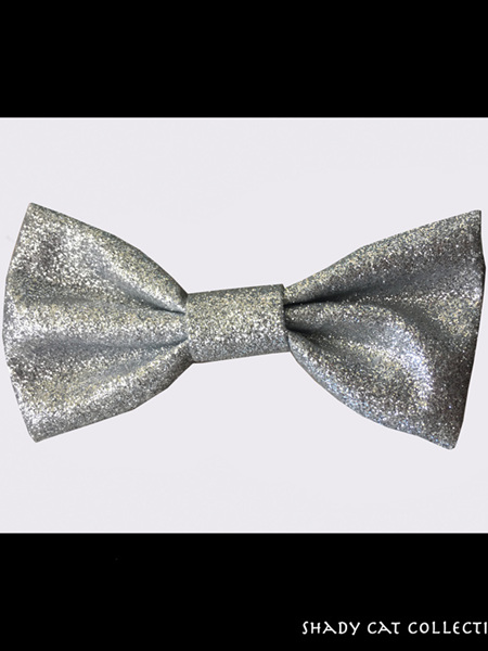 Cat Bowtie Sparkly Silver