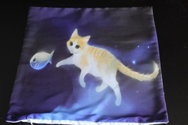 Cat Chasing Fish Cushion Cover