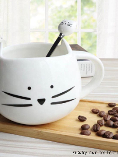Cat Cup with Matching Teaspoon - White