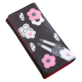 Cat & Flowers Long Womens Wallet - Black