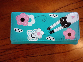 Cat & Flowers Long Womens Wallet - Bluey Green