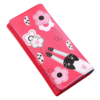 Cat & Flowers Long Womens Wallet - Hot Pink
