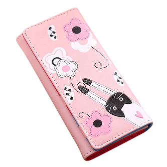 Cat & Flowers Long Womens Wallet - Light Pink