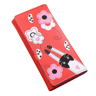 Cat & Flowers Long Womens Wallet - Red