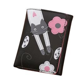 Cat & Flowers Short Womens Wallet - Black