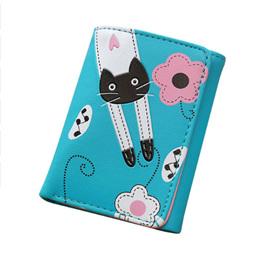 Cat & Flowers Short Womens Wallet - Blue