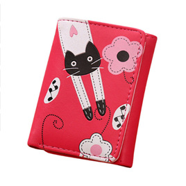 Cat & Flowers Short Womens Wallet - Hot Pink