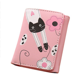 Cat & Flowers Short Womens Wallet - Light Pink