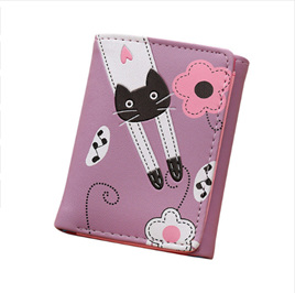 Cat & Flowers Short Womens Wallet - Purple